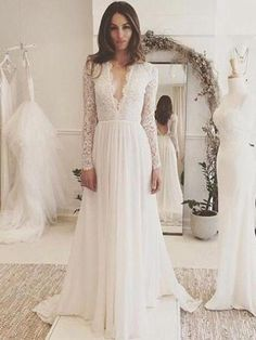 Charming Affordable Chiffon Long Sleeve V Neck Formal Long Wedding Dresses, is part of Long sleeve wedding gowns cm Processing Time (Including shipping) Normal within 25 days Rush order with - Wedding Gowns With Sleeves, Wedding Dress Chiffon, Long Wedding Dresses, Bridal Dresses, Lace Chiffon, White Chiffon, Homecoming Dresses, Chiffon Dresses, Long Sleeve Wedding Dress Boho
