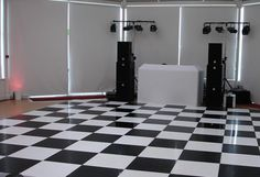 Classic black and white chequerboard dance floor laid for a black and white themed wedding with a white LED star cloth DJ booth and HK Audio speaker system White Lead, Black And White, Led Dance, Dance Floor Wedding, Dance Floors, Dj Booth, Cool Pictures, Speaker System, Wedding White