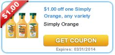 Hot Coupon Offer $1 Off any Simply Orange Brand Orange Juice