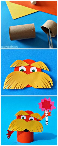 Lorax toilet paper roll craft for kids inspired by Dr. Seuss' book The Lorax. It was pretty easy to make and only required a lot of cutting. Craft Activities For Kids, Preschool Crafts, Projects For Kids, Fun Crafts, Art Projects, Crafts For Kids, Craft Kids, Toilet Paper Roll Crafts, Paper Crafts