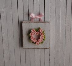 Miniature Shabby Chic Rose Heart Wall by LittleThingsByAnna