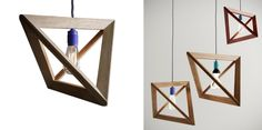 The wooden pendant lamp Lightframe by Herr Mandel impresses with its simple design and the main concept: an exposed light bulb framed by wooden strips. Facade Lighting, Lighting Design, Blitz Design, Lamp Cord, Wooden Lamp, World Of Interiors, Pendant Lighting, Pendant Lamps, Simple Designs