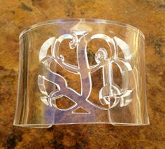 Monogram Clear Lucite Cuff Bracelet by TaggedDesigns1 on Etsy, $35.00
