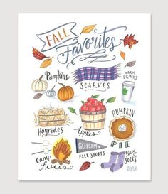 Why do we love Fall - hay rides, football games and pumpkin pie! We hope you can spot many reasons illustrated in this colorful design devoted to the joys of the season.