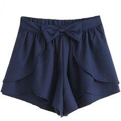 Sheinside Women's Bow Cascading Ruffle Chiffon Skirt Shorts ($17) ❤ liked on Polyvore featuring shorts, bottoms, chiffon shorts, navy shorts, bow shorts and navy blue shorts