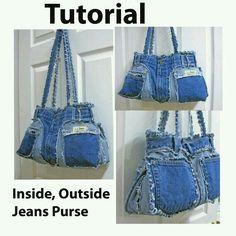 recycled blue jeans jeans jeans tasche und jeans handtaschen. Black Bedroom Furniture Sets. Home Design Ideas