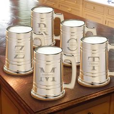 Monogrammed Groomsmen gifts are the best!! Find unique designs in sets like these gunmetal glass mugs personalized just for your groomsmen!! A great gift for your buddies on your wedding day.