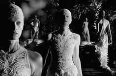 Kristen McMenamy in Alexander McQueen at the Kew Temperate House Stills from film shot by Catherine Sullivan