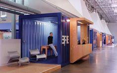 Escritório em containers   Clive Wilkinson Architects   http://www.bimbon.com.br/projeto/escritorio_em_um_galpao