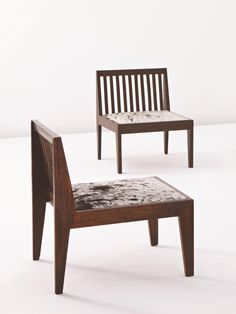 Pierre Jeanneret; #PJ-SI-18-A Teak and Cowhide Lounge Chairs from a Private Residence in Chandigarh, 1950s.