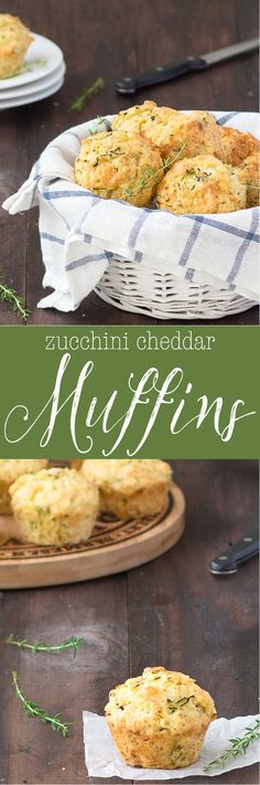 These zucchini cheddar cheese savory muffins are super delicious, moist and full of flavor. Serve them for a quick lunch with a salad, with a bowl of soup, for breakfast, and are great for the kids lunch boxes. (Baking With Kids Quotes) Zucchini Muffins, Muffins Blueberry, Savory Muffins, Cheese Muffins, Zucchini Cheese, Almond Muffins, Savory Snacks, Slow Cooking, Cooking Recipes