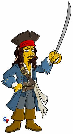 Pirates of the Caribbean's Captain Jack Sparrow. And from SP readers today is Cliff with more Doct. Simpsons Drawings, Simpsons Art, Marvel Dc, Retro Images, Captain Jack, Batman, Futurama, Pirates Of The Caribbean, Ghostbusters