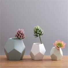 Creative Geometric Figure Modern Ceramic Flower Vase For Homes Weddings Decoration Display Chinese Porcelain Vaso Decorativo
