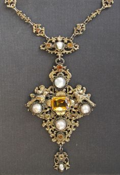 Antique Austro Hungarian Silver Gilt Cherubs Birds Pearls and Citrine Necklace