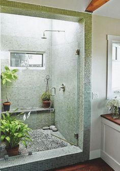 45 Trending 2019 Jungle Bathroom Design - Home Design Zen Bathroom, Jungle Bathroom, Shower Stall, Shower Plant, Minimalist Bathroom, Bathrooms Remodel, Bathroom Decor, Bathroom Inspiration, Bathroom Shower Design