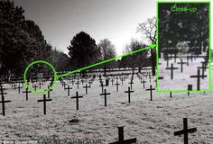 """The picture of a Scottish soldier is possibly revealed in this ghost picture taken at a German Cemetery in France. Teenager, Mitch Glover, took this snap of Neuville-St. Vaast German (World War I) Cemetery just north of Arras, France during his school's field trip. He believes the ghost to be wearing a kilt and dressed as a British Army """"Seaforth Highlander"""" -- a renown Scottish military regiment. The boy supposedly thought nothing of ghosts while touring the cemetery, taking photographs. It"""