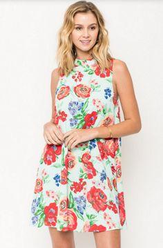 Everly Floral High Neck Dress