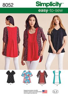 Misses' top features v neck with cap sleeve in two lengths, front inverted pleat, and optional contrast fabrics, or scoop neck top with contrast side panels in sleeveless or with half sleeve. Simplicity sewing pattern.