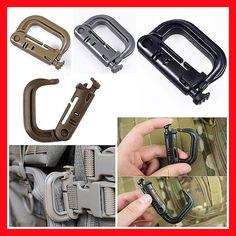 Tactical Backpack D-Ring Carabiner EDC Shackle  Snap Clip Locking Key Ring