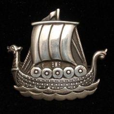 Viking Ship Pin Vintage 830 Silver Figural Norway
