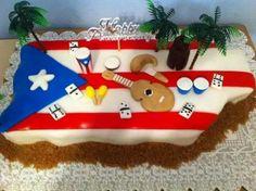 For my dad Puerto Rico Island, Puerto Rico Food, Cuban Party, Comida Boricua, Puerto Rican Flag, Flag Cake, Puerto Rican Culture, Adult Party Themes, Puerto Rican Recipes