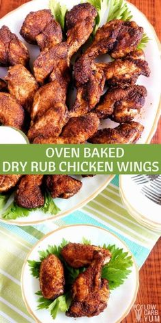 Spicy Dry Rub Chicken Wings – Oven Baked Recipe Tired of wings drenched it hot sauce? This recipe for spicy dry rub chicken wings uses a seasoned blend of ground dried peppers instead. via Low Carb Yum Chicken Wing Seasoning, Dry Rub Chicken Wings, Chicken Wings Spicy, Oven Chicken, Chicken Wing Recipes, Dry Rub For Wings, Marinade For Chicken Wings, Best Baked Chicken Wings, Wings In The Oven