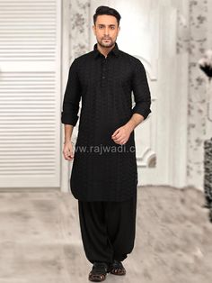 Marvelous Chikan fabric Black Pathani kurta is available with matching Voile fabric bottom. This designer Pathani Suit is embellished with thread work and fancy buttons. Pathani For Men, Pathani Kurta, Mens Fashion Suits, Men's Fashion, Fancy Buttons, Rust Color, How To Look Classy, Indian Ethnic, Dapper
