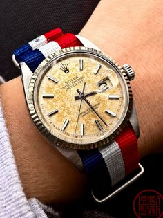 Vintage Rolex + French flag strap = à la mode et patriotique!