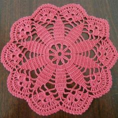 This doily is hand crocheted with an cotton thread. Wonderful Home decor and Table Decoration MEASURES / 18 cm / COLOR coral, red YARN: cotton yar Free Crochet Doily Patterns, Crochet Mandala, Filet Crochet, Crochet Motif, Crochet Designs, Hand Crochet, Crochet Flowers, Crochet Stitches, Irish Crochet