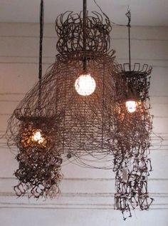recycled scrap metal lamps