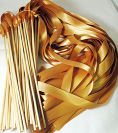 What about blue&white ribbon wands for kids instead of sparklers? 50 Magical Wedding Ribbon Wands IN YOUR COLORS (shown in deep gold) Add color to your wedding ceremony exit via Etsy Wedding Ceremony, Our Wedding, Dream Wedding, Wedding Bells, Wedding Ribbon Wands, Wedding Favors Cheap, Magical Wedding, Diy Ribbon, Here Comes The Bride