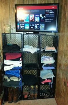 Another use for milk crates! Use them to create shelves in a closet, garage or really any where.