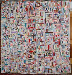 """c. 1940-1960s Vintage Postage Stamp Crazy Quilt. Some of the pieces are 3/4"""" square or smaller.  An excellent example of crumb piecing."""