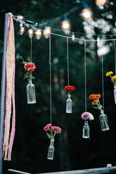 Hanging flowers and bistro lights.
