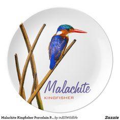 Shop Malachite Kingfisher Porcelain Plate created by inXSWildlife.