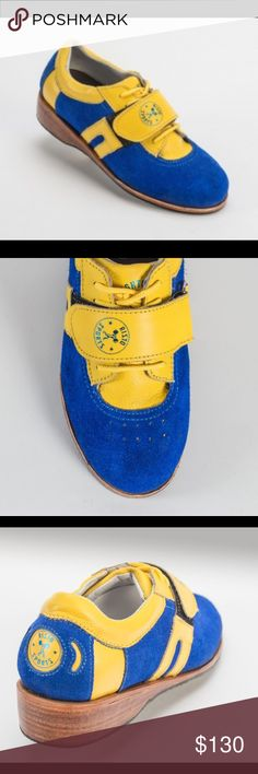 Risto sports lifting shoes OPEN TO REASONABLE OFFERS. I wore these shoes two times. They are blue suede with yellow leather. They have a solid wooden heel. They fit a women's 8.5-9. risto Shoes Athletic Shoes