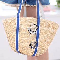 59 Seconds  Anchor Straw Bag