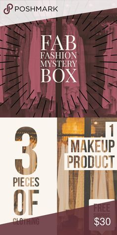 FAB FASHION MYSTERY 📦 - 3 👗👖👚& 1 💄 👠⭐FAB FASHION MYSTERY BOX comes with 3 clothing items and 1 makeup product. You will be able to get Pants, dresses, skirts, tops, Scarfs etc.! Items are gently used, NWT, and NWOT! I am open to customization let me know what items you like and need! 💁🏽All items items in my closet come with a free surprise gift.😻   Brands Abercrombie & Fitch Adidas Target A&E Charlotte Russe Forever 21 H & M JCPenney HOTKISS Hollister Co Nike Brandy Melville Urban…