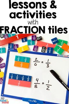 Fraction tiles are the perfect manipulates for students to explore fractions.  Use them for hands-on learning to introduce equivalent fractions, comparing fractions, mixed numbers, and even adding, subtracting, multiplying and dividing fractions.  Use them with task cards for independent student practice, or as part of your small group instruction.  Fraction tiles help students recognize that fractions fit together to form a whole.  Visually show students fraction relationships!