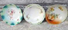 Antique Lot hand painted Floral Serving Bowls