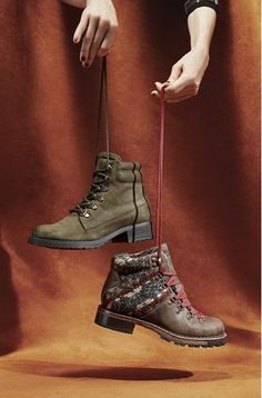 "A classic lace-up hiking boot merges rich wool paneling with water-resistant, full-grain leather for a look that""s both rugged and beautiful–while a cozy wool lining and cushy insole provide serious comfort cred. @Nordstrom"