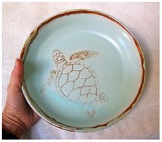 Sea Turtle Pie Pottery Plate by rikablue on Etsy, $48.00
