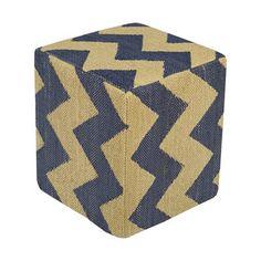 Surya Picnic Chevron Cube Pouf