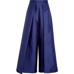 Solace London Aria cropped charmeuse wide-leg pants (470 BAM) ❤ liked on Polyvore featuring pants, bottoms, trousers, navy, navy wide leg pants, cropped trousers, wide leg cropped pants, wide leg cropped trousers and wide-leg pants