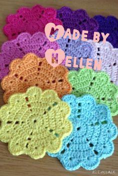 Onderzetters Coasters pattern:   http://mobil.crochetmillan.bloggplatsen.se/2014/06/21/10756750-it-all-started-with-a-heart/