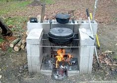 Image result for diy outdoor grill with cinder blocks