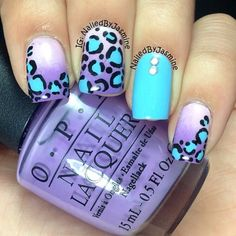 Turquoise and purple leopard nails with rhinestone Get Nails, Fancy Nails, Love Nails, How To Do Nails, Pretty Nails, Hair And Nails, Nailart, Acryl Nails, Finger