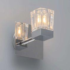 Popular Badezimmer Strahler Clou chrom Sch ner dicker Strahler mit Eisglas auf einer quadratischen Platte