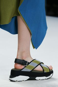 Aaaaand they now make the ugly crisscross sandal in mesh stripe, with a slingback and a sneaker platform. How do they keep getting better at the ugly-beautiful aesthetic?!?   Marni Spring 2015 Ready-to-Wear