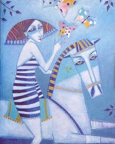 A game with a horse and a butterfly - © 2003 Peter Mitchev -  Painting Online Artworks
